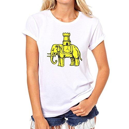 Elephant Golden Castle Sad Standing Damen T-Shirt Weiß