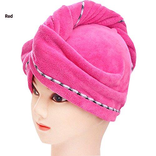 Hoyoo trocken Mikrofaser-Frauen-Badvorleger, sehr saugfähig schnelltrocknend, Haar-Turban Handtuch Wrap, Badetuch Haar Trocken Hut Salon-58x 25cm rot