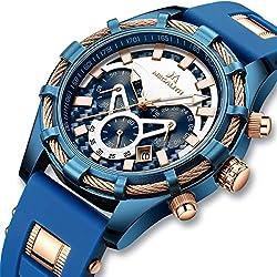 Montre Homme Montres Bracelet Etanche Luxe Sport Chronographe Grand Design Bleu Montres Homme en Caoutchouc Entreprise Lumineuses Date Mode