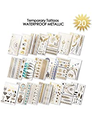 Tatouage ephemere femme | 20 feuilles Tatouages Temporaires Métalliques (400+ dessins) |Beach, Party, Festival Favors Rave | brillants motifs variés pour filles, adultes