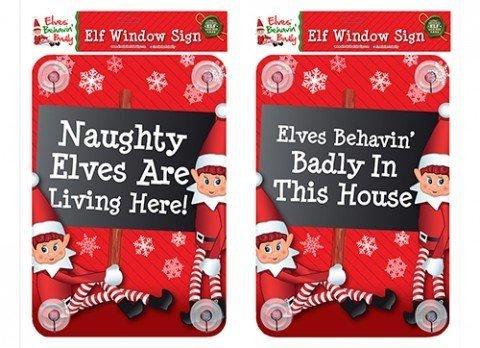 ier leben Fenster Zeichen Aufkleber Weihnachten Kid Kind Party Elf Prop Dekoration (Halloween Naughties)