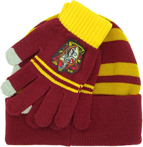Harry Potter Complete HAT and GLOVES Adult Size House of GRYFFINDOR Original 100% Official School of Magic Hogwarts