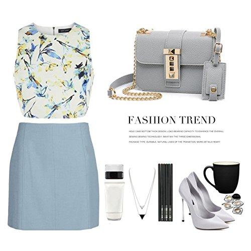 Yoome Fashion Casual Flap Bag Lichee modello Elegante Catena Borse da lettera per donne in pelle - Grigio Nero