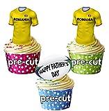 AK Giftshop Prédécoupée Pères Roumanie Maillot de Rugby et Balle-Comestibles pour Cupcakes/Gâteau Décorations (Lot DE 12)