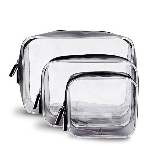 Stück Set Tasche Kosmetik 3 (Tancendes 3 Stück Wasserdicht Transparent Kulturbeutel PVC Tasche Durchsichtig Doppel-Reißverschluss Kosmetische Reise Organizer)