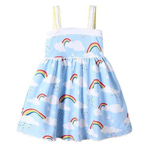 Dhasiue Little Girls Dresses Summer Rainbow Blue Sundress For Toddler Kids Age 1-6 Years