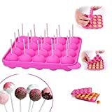 20 cavità in silicone Lollipop Mold con bastoncini 20 cavities with sticks - Dimensioni 22,5 * 18 * 3 cm diametro del cerchio 4 cm, resistente al calore da -40 ° C a 230 ° C (rosa)