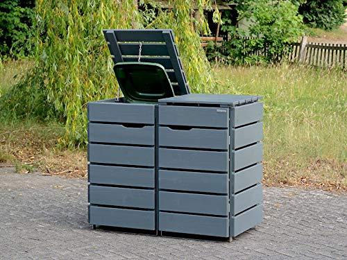 2er Mülltonnenbox / Mülltonnenverkleidung 120 L Holz, Deckend Geölt Tannengrün - 2