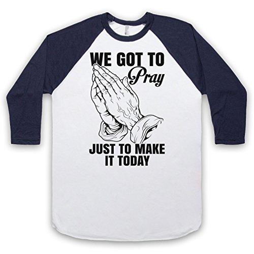 Inspiriert durch MC Hammer Pray Unofficial 3/4 Hulse Retro Baseball T-Shirt Weis & Ultramarinblau
