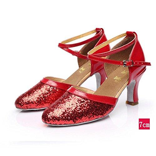 adulti da da ballo ballo 7cm indoor da moderna scarpe di soft suole Wxmddn scarpe Red per scarpe ballo latino scarpe ballo scarpe indoor danza 7cm rosso da Donna di 0nAqw7B