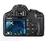 atFoliX Panzerfolie für Canon EOS 500D / Rebel T1i Folie - 3 x FX-Shock-Clear stoßabsorbierende ultraklare Displayschutzfolie