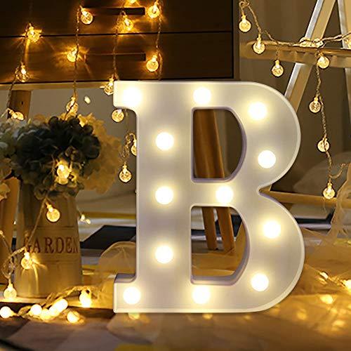 FeiliandaJJ A~Z Brief Nachtlicht Batterie mit Fernbedienung Romantisch LED Licht Nachtlampe LED Dekoration für Heiratsantrag Schlafzimmer Party Haus Dekor Nachtleuchte Schießen Requisiten (B) (Halloween-wörter Mit B)