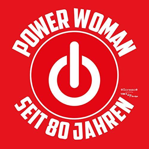 Damen Girlie T-Shirt Geschenk zum 80 Geburtstag für Frauen :-: witzige Geschenkidee :-: Power Woman seit 80 Jahren :-: Geburtstagsgeschenk Powergirl und Urkunde Farbe: rot Rot
