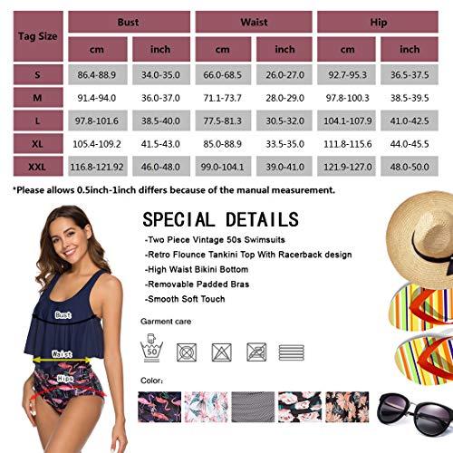 Adisputent Damen Badeanzug mit hoher Taille, Volant, Racerback, Vintage-Stil, Zweiteiliger Bikini - Orange - XX-Large - 5