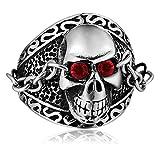 Blisfille Herren Ring Edelstahl Punk Ring Kette Skelett Zirkonia Daumen Ring Herren Edelstahl Silber