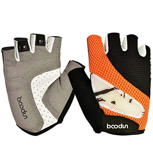 MISS&YG Männer und Frauen Silikon atmungsaktive Stoßdämpfer Fahrradhandschuhe Mountainbike Ausrüstung Fahren halbe Fingerschuhe,orange,XL