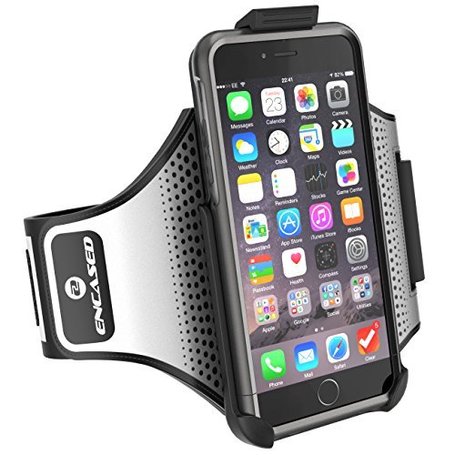 "iPhone 6 Plus 5.5"" Armband & Sport Case (2 pc set) Includes: Encased Click-N-Go Arm Band + Hybrid Cover (Royal Purple) Metallic Gray"