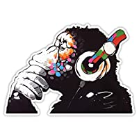 Banksy Thinker Monkey Headphones Design | Wall Art Graffiti Vinyl Sticker | Urban Art Window, Car, Laptop Decal