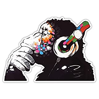 Banksy Thinker Monkey Headphones Design | Wall Art Graffiti Vinyl Sticker | Urban Art Window, Car, Laptop Decal (Extra Large - 40x28cm)
