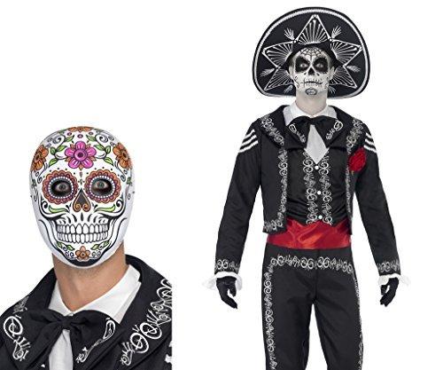 Señor Knochen Halloween Kostüm Plus gratis Señor Knochen Maske Größe XL (Herren Tag Der Toten Halloween-kostüm)