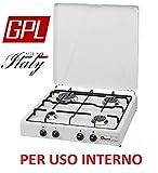 Gaskocher sicherheitsöffnungsventil Parker A GAS GPL (Gasflaschen) mit 4flammig Farbe Weiß und Schwarz–für Verwendung Innen -