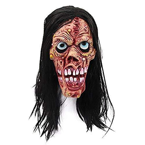 Ghoul Kostüm Ghost - Gruselige Ghost Ghoul Maske mit Perücken Halloween Kostüm Wicked Devil Scary Mask Gruselige Latex Horror Maske@Mehrfarbig-2,Gruselige Maske