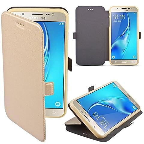 Samsung Galaxy J5 (2016) Hülle Flip Case Gold - Moozy® Dünne Glitzer Flip Handy Tasche mit Stand und Silikon