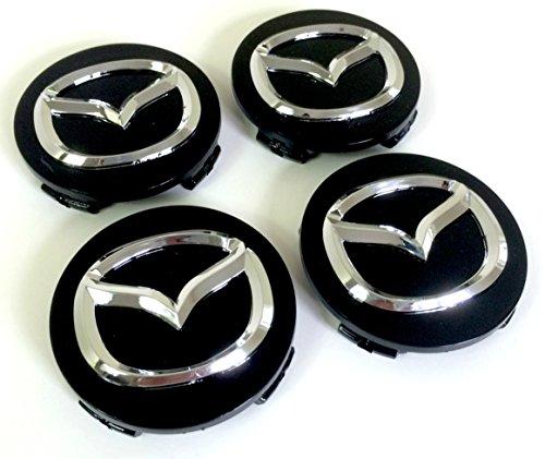 4 Stück MAZDA Alufelgen Nabendeckel Nabenkappen Abdeckung Schwarz Chrom Abzeichen Set 4 Stück MAZDA 56mm Aluminium Felgendeckel Nabenabdeckung 56mm Ring Schwarz Chrom Emblem Mazda2 Mazda3 Mazda5 Mazda6 Mazda8 CX-3 CX-5 CX-9 MX-5 RX-8 und andere Modelle