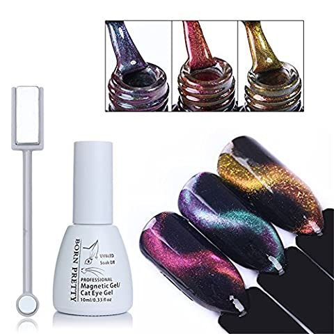 Born Pretty Nail Art Cat Eye Nail Polish Chameleon Magnetic Soak Off UV Gel Lacquer with 1Pc Magnet Board 3 Colors Set