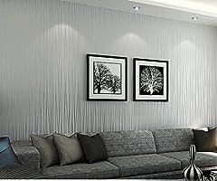 Idea Regalo - HANMERO Rotolo di carta da parati, moderna carta da parati modello semplice stile grigio argento--10m*0.53m