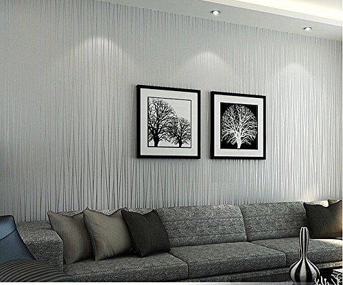 HANMERO Mustertapete Modern Streif Relief Vliestapete für Schlafzimmer, Whonzimmer, Hotel 0,53 * 10m 85579Beige-grau Wallpaper