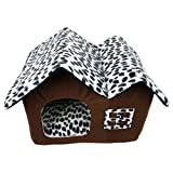 DoubleBlack High Quality Brown Indoor Pet Dog / Cat House Bed With Soft Removeable Cushion For Small Or Medium Dog