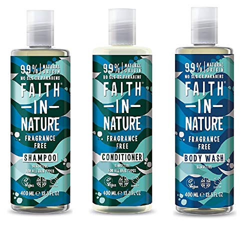 Faith In Nature Fragrance Free Shampoo, Conditioner and Shower Gel Trio Pack - Fragrance Free Shampoo Conditioner