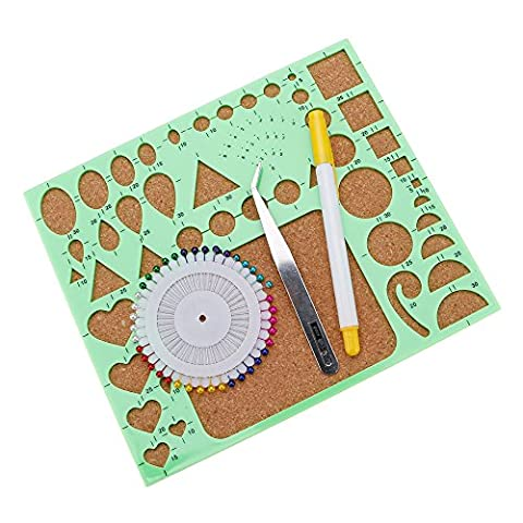 Huayang| 4Pcs/set Quilled Creations Circle DIY Scrapbooking Paper Quilling Template Mould Board Paper craft Handmade Photo Work board Set Greeting Cards Decoration Tool Green