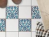 Küchen-Bodenfolie, Badezimmerfliesen | Fliesenfolie Sticker Aufkleber Bad Küche Balkon Küchen-Deko | 10x10 cm Muster Ornament Hamam-Vibes - 4 Stück
