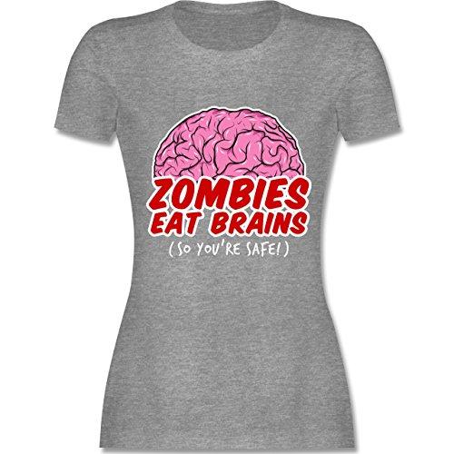 Shirtracer Halloween - Zombies Eat Brains - So You´re Safe! - Damen T-Shirt Rundhals Grau Meliert