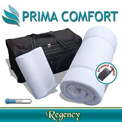 Prima Comfort Range- Memory Foam Travel Mattress and pillow- The Regency - 7 DAY MONEY BACK GUARANTEE!! (5cm depth mattress with Coolmax cover and Wheeled holdall)