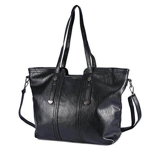 09178d758872a ... Handtaschen Damen Mufly Handtaschen Leder Frauen Handtaschen Set 3  teiliges mit Crossbody Tasche und Handgelenktasche Schwarz ...