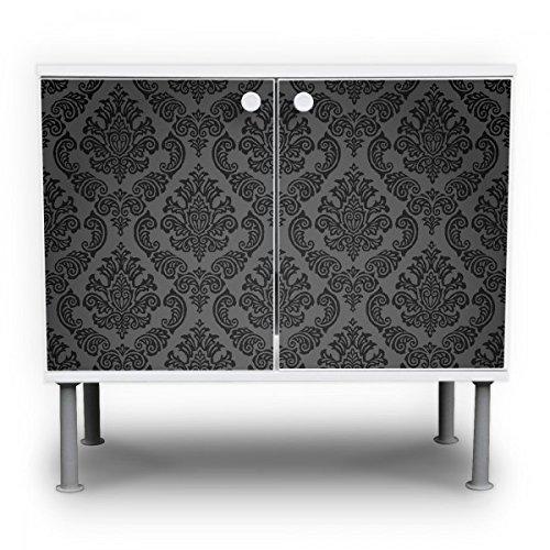 #banjado – Badunterschrank 60x55x35cm Design Waschbeckenunterschrank mit Motiv Black Deluxe#