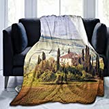 Papalikz Ultra-Soft Micro Fleece Soft And Warm Throw Blanket,Tuscan Tuscany Seen from Stone Village of Montepulciano Italy in Cloudy Day,60' 50', Green And Brown