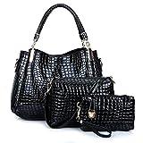 LXYIUN PU Leder Handtasche,Mode Dreiteiliger Anzug Handtasche Diagonales Paket Kupplung Krokodil-Drucktasche,Black