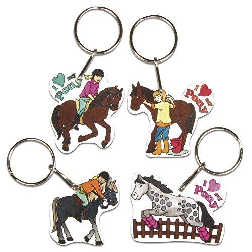 Rayher 75354000 Schrumpffolien-Set My Pony, 4 Motive inlusive Schlüsselringe