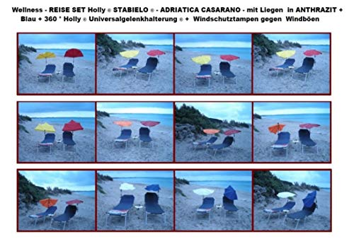 ANGLERSCHIRM DUNKELGRÜN – Holly Fächerschirm 140 x 70 cm mit 360 ° drehbarer Edelstahlhalterung. Bezug Polyester – hochwertiger UV -Sonnenschutz 40 + Farbe: DUNKELGRÜN –
