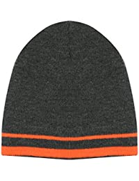 Thinsulate Boys Grey Knitted Beanie Hat With Bright Orange Stripe Edge Grey L-8-10Year