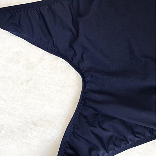QIYUN.Z Frauen Tiefen V-Ausschnitt Rückenfreien Sommer Seaside Strand Einteilige Badeanzüge Bademode Navy Blau