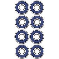8 Pack 608 2RS Rodamientos de Skate Cojinetes de Patines de Rueda y Longboard, Doble Blindado (Azul)