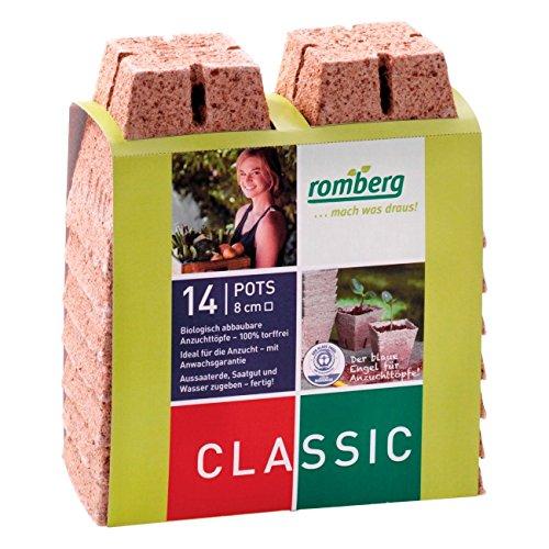 14x Macetas cuadradas de fibra de coco biodegradable Romberg Classic Pots (8cm)