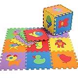 EOZY Alfombra Infantil de Juegos Para Niños Bebés Puzzle con 10 Piezas Multicolor-Animales