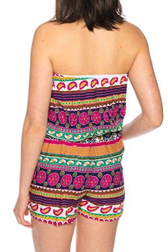Dress Sheek Damen Jumpsuit Playsuit Sommer Luftig Mehrfarbig Trägerlos Gemustert Overall Kurz Schulterfrei Ärmel R259 - Rosa