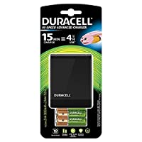 Duracell CEF27 Fast 15 mins Charger including 2 AA & 2 AAA Rechargeable Batteries